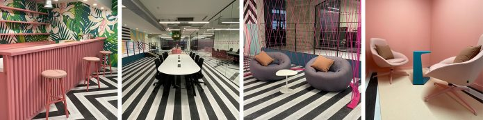 Series of images showing Huckletree's Memphis Design inspired interior