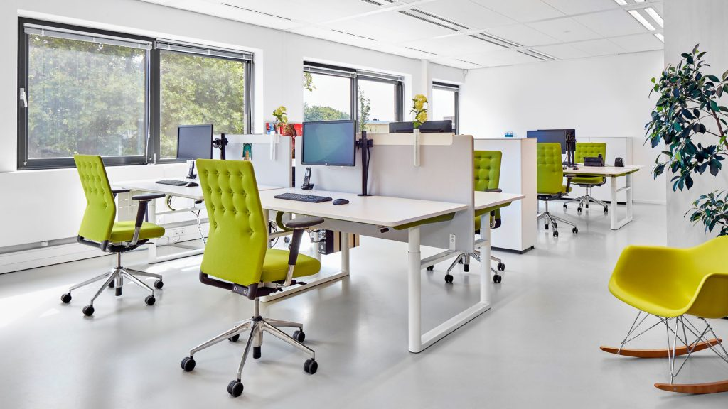Vitra ID Trim button back task chair in lime green