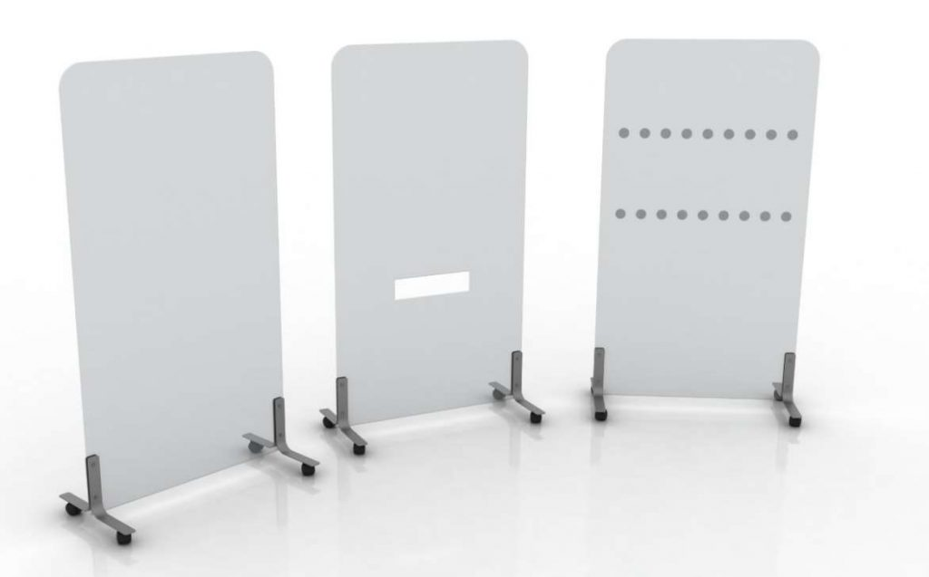 Mobile screens in acrylic. Left to right - plain, with mid-slot, with dot manifestations