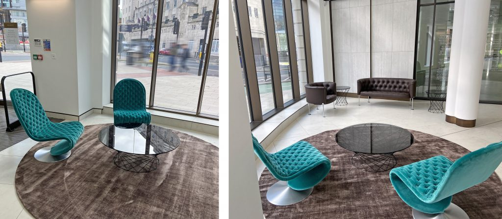 Majestic lobby space shoring rugs, Walter Knoll Oota tables, and Haussmann armchiars, Verner Panton System 1-2-3 Chairs and Kymo rugs