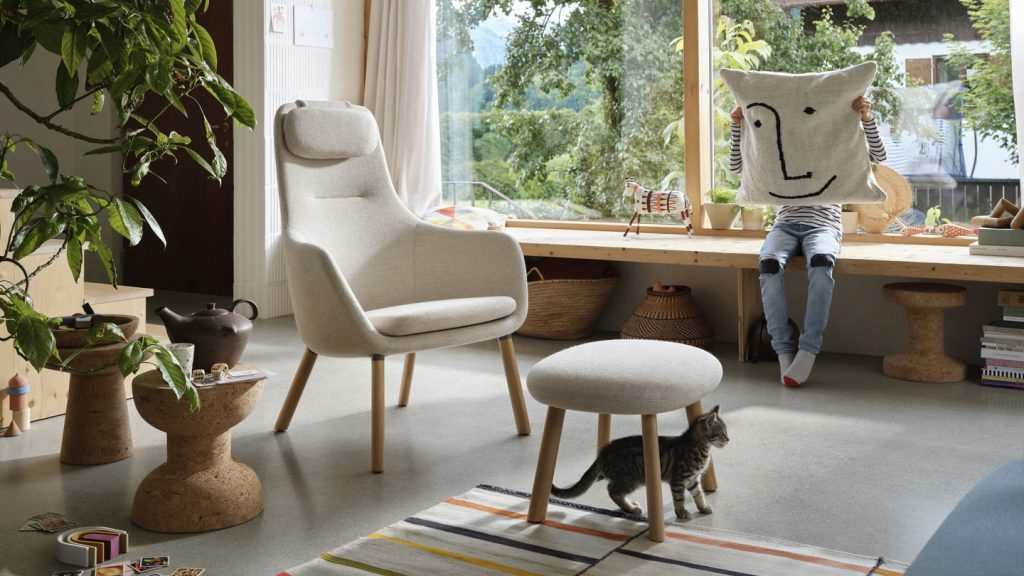 Vitra HAL Lounge Chair and ottoman in home setting